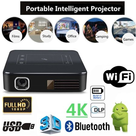 4K HD 1080P Home Theater/Cinema Projector 5000 Lumens 2G 16G DLP Digital Multimedia WirelessProjector Android 7.1 Wifi Movie Gaming - Dlp 1700 Lumen Projector
