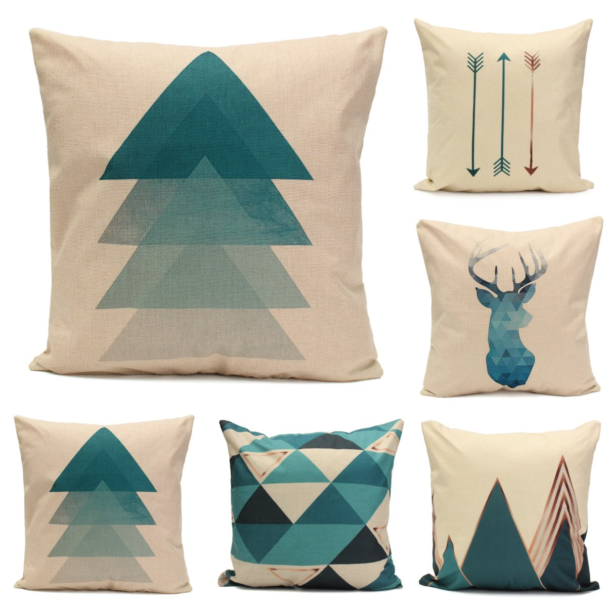 meigar blue deer simple style couch cushion pillow covers 18x18 square zippered cotton linen standard decorative
