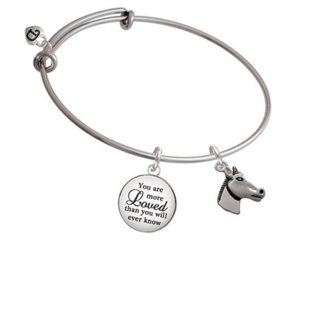 Horse Head You Are More Loved Bangle Bracelet