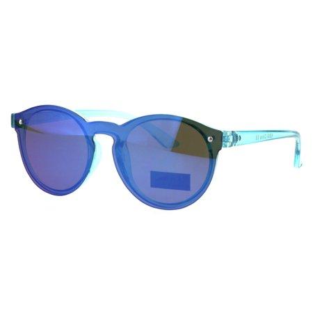 Kids Size Keyhole Shield Horn Rim Color Mirror Round Sunglasses Teal Blue (Kids Sunglasses Mirror)