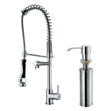Vigo Vg02007k2 Double Handle Pull Down Kitchen Faucet With Soap Dispenser