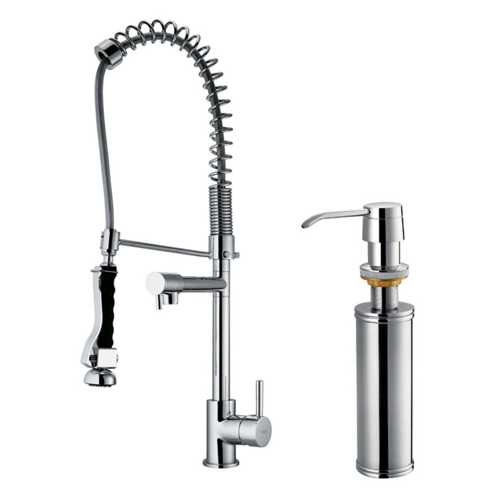 Vigo Pull-Out Spray Kitchen Faucet with Soap Dispenser, Stainless Steel