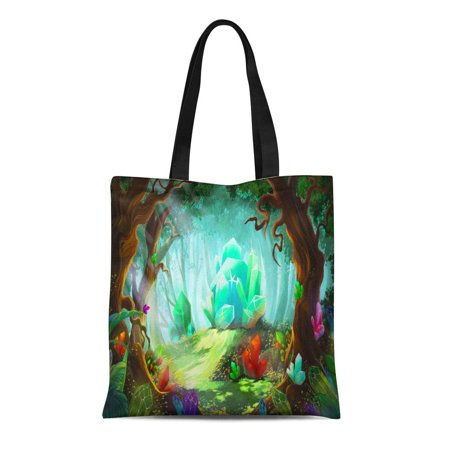 KDAGR Canvas Tote Bag the Legend of Diamond and Crystal Forest Video Game Reusable Shoulder Grocery Shopping Bags (Legends Shopping Center Stores)