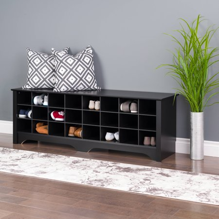 Mudroom Bench - Prepac 24 pair Entryway Shoe Storage Cubby Bench, Black