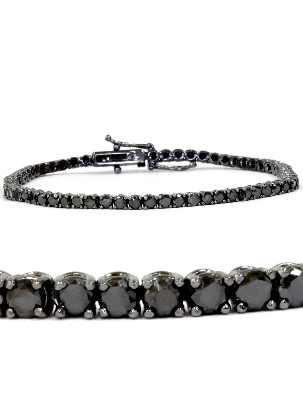 3ct Black Diamond Tennis Bracelet 14K Black Gold 7""