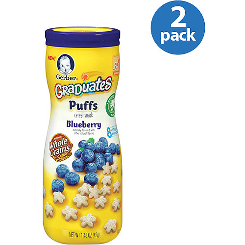 Gerber Graduates Puffs Blueberry Cereal Snacks, 1.48 oz, (Pack of 2)