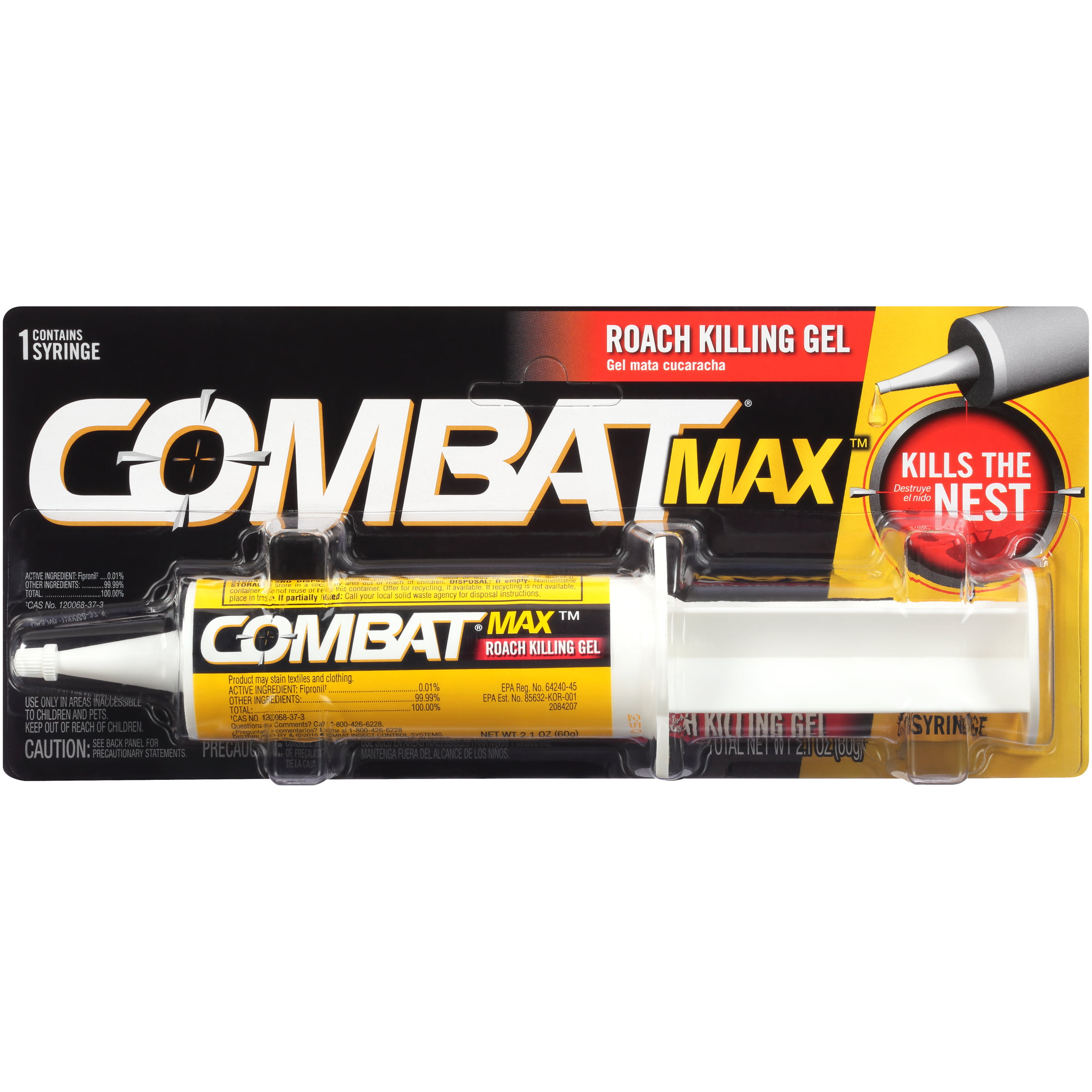 Combat Max Roach Killing Gel For Indoor And Outdoor Use 1 Syringe 2 Ounces