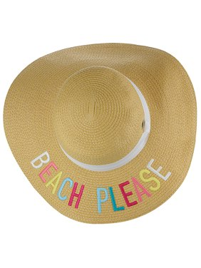 89d7cc42 Product Image C.C Women's Paper Weaved Beach Time Embroidered Quote Floppy  Brim Sun Hat, Always On Vacay
