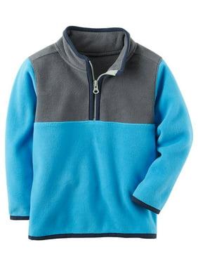 Carter's Baby Boys' Quarter Zip Fleece Pullover; Blue/Grey/Navy, 6 Months