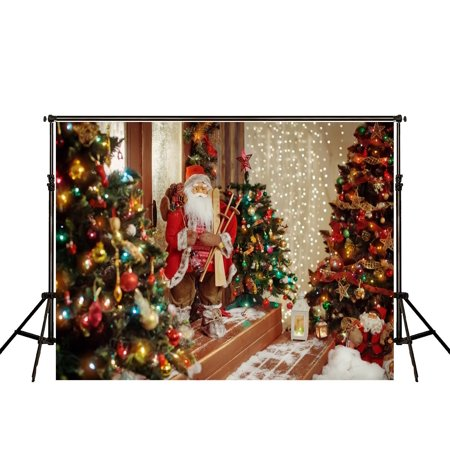 GreenDecor Polyster 7x5ft Indoor Christmas Decoration Photography Backdrops Three Christmas Tree and Santa Claus Background for Children Photo Studio - Christmas Backgrounds For Photography