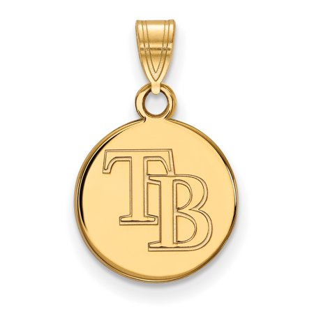 Roy Rose Jewelry Sterling Silver With 14K Yellow Gold Plated Mlb Logoart Tampa Bay Rays Small Disc Pendant