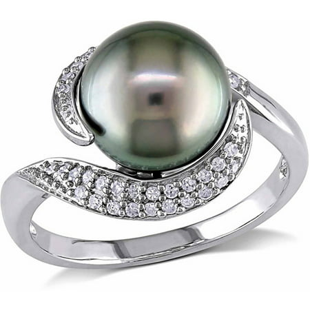 9-9.5mm Black Round Tahitian Pearl and 1/7 Carat T.W. Diamond 10kt White Gold Bypass