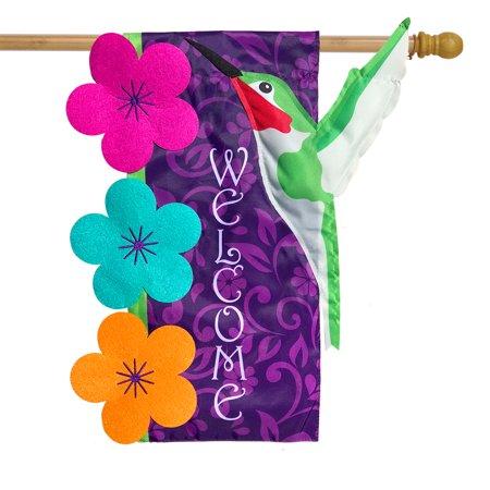 "Hummingbird Applique Spring House Flag Welcome Sculpted 28"" x 40"" Briarwood Lane"