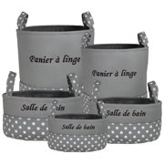 Essential Decor 5-Piece Polyester Storage Containers Set Grey 18x15.75x15.75 in