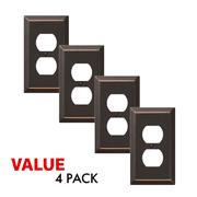 Value 4-Pack Duplex Outlet Wall Plate Decorative Steel, Oil Rubbed Bronze