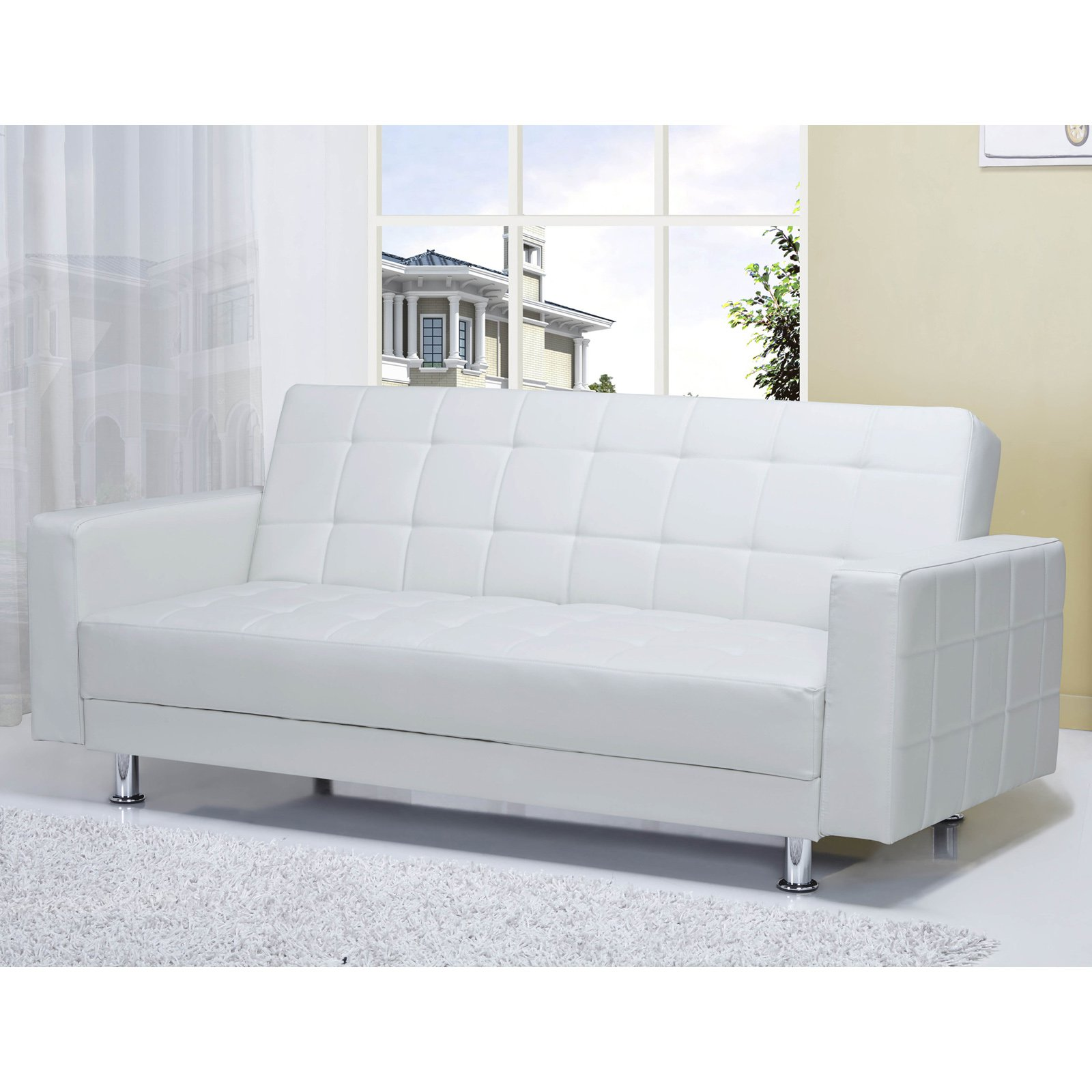 Gold Sparrow Frankfort Faux Leather Convertible Loveseat