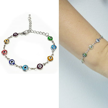 1 Evil Eye Turkish Nazar Greek Mati Hamsa Kabbalah Charm Silver Plated Bracelet