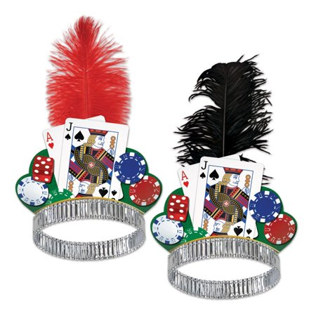Club Pack of 50 Assorted Black Jack Casino Night Party Tiara