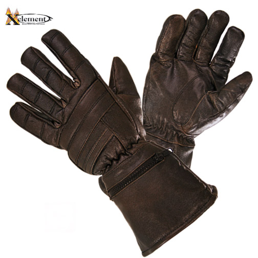 Xelement XG230 Driving Retro Mens Brown Leather Gauntlet Motorcycle Gloves