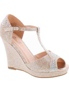 c929108f96a7 Product Image De Blossom Collection Womens Alina-29 Elegant Classic Rhinestones  Heel Platform Dress Shoes