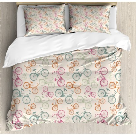 Bicycle Queen Size Duvet Cover Set, Sketch Bikes in Retro Colors Hipster Pattern Pedals Wheels Urban Life Theme Vintage, Decorative 3 Piece Bedding Set with 2 Pillow Shams, Multicolor, by Ambesonne ()