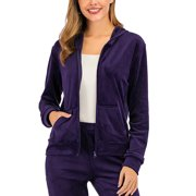 Women's Velour Jogging Zipped Hoodie, Fashion Sport Suit, Hoodie Sports Tracksuits Sport Tops(Only Tops)