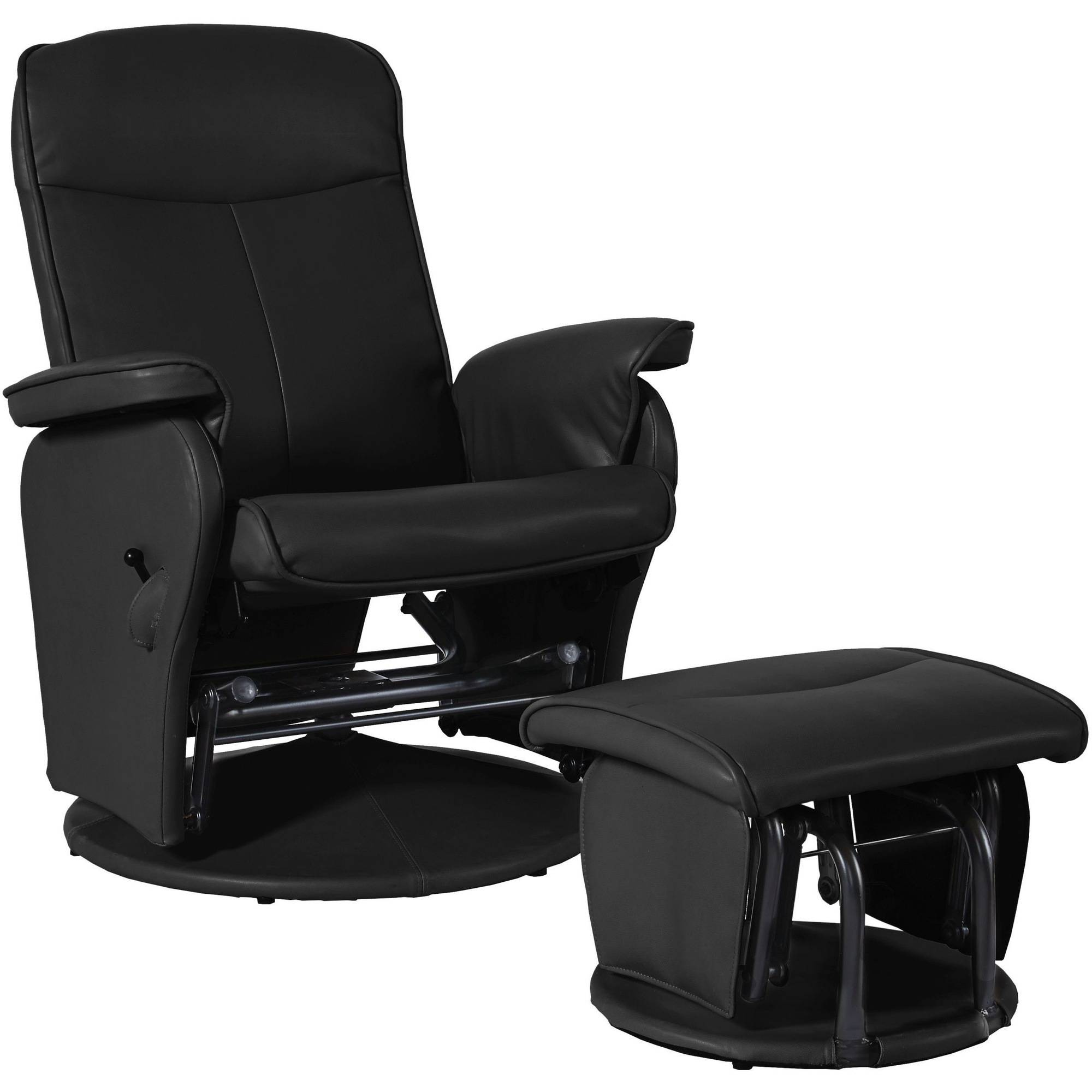 Shermag Glider and Ottoman, Bonded Leather Black