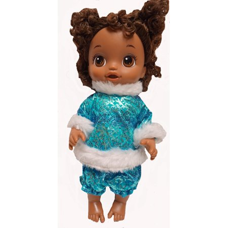 Blue Metallic Ice Skating Outfit Fits Baby Alive And Little Baby Dolls (Alice Outfit)