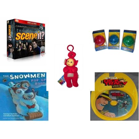 Children's Gift Bundle [5 Piece] -  Scene It? Twilight Deluxe Edition  - Smart 12 Piece  Ball Assrt Colors Red, Blue, Green - Teletubbies  Red Po With Hang Clip 8