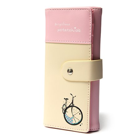 Leather Girls Wallet (Women Lady Girls Long Clutch PU Leather Wallet Purse Checkbook Coin Lungo Wallet Bag Card Handbag)