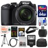 Nikon Coolpix B500 Wi-Fi Digital Camera (Black) with 64GB Card + Case + Flash + Batteries & Charger + Tripod + Strap + Kit Nikon Coolpix B500 Wi-Fi Digital Camera (Black) <br>Simply brilliant photos and videos. <br><br>The <b>Nikon Coolpix B500 Wi-Fi Digital Camera</b> feels great in your hands, whether youre zooming in with its <b>super telephoto NIKKOR glass lens</b> or recording <b>1080p Full HD video</b> using the <b>flip-up 3.0 LCD</b>. And it takes all the work out of shooting beautiful photos and videos with its <b>16 megapixel low-light sensor</b>, <b>Lens-Shift Vibration Reduction (VR)</b>, easy menus and controls, fun creative effects and outstanding automatic operation. <br><br>Plus, the whole time youre shooting, the COOLPIX B500 can be easily and seamlessly connected to a compatible smartphone through <b>Bluetooth low energy (BLE) technology</b> for instant photo sharing and remote camera control. Simply brilliant. <br><br><b>Key Features:</b><br> <b>Get closer to what matters:</b><br> Few shots are too far away for the COOLPIX B500s NIKKOR ED glass lens. 40x optical zoom gives you super telephoto power, then Dynamic Fine Zoom, an enhanced digital zoom, effectively doubles that reach for a whopping 80x zoom. Lens-Shift Vibration Reduction (VR) keeps your shots steady -- crucial at such long distances -- and a 16-megapixel backside illuminated CMOS sensor captures every detail. <br><br><b>Always connected:</b><br> Install Nikons new SnapBridge app on a compatible smartphone or tablet and unlock exciting new capabilities with the COOLPIX B500. Built-in Wi-Fi, NFC and Bluetooth low energy (BLE) maintain a constant connection between the app and your camera, so each shot you take automatically transfers to your smartphone or tablet for sharing, editing with photo apps or uploading to your favorite sites. You can even use the Snapbridge app to control your camera remotely! <b>Large 3.0-inch 921K-DOT LCD Tilting Monitor:</b><br> The COOLPIX B500s large, tilti