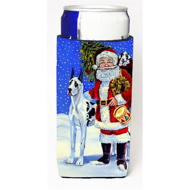 Harlequin Great Dane With Santa Claus Michelob Ultra bottle sleeves For Slim Cans - 12 oz. - image 1 of 1
