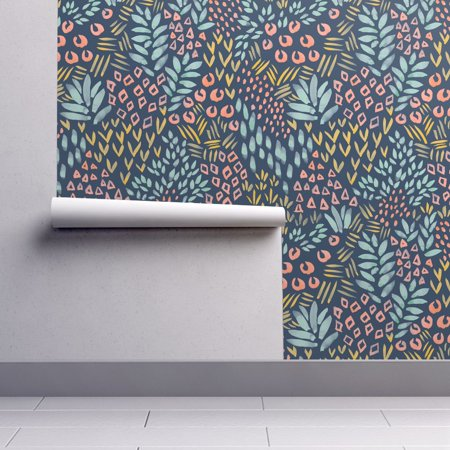 Peel and Stick Removable Wallpaper Abstract Botanical Floral Mod Shape