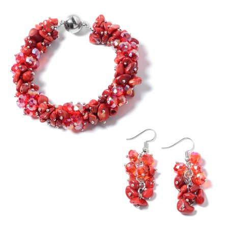 Coral Red Beads Stainless Steel Earrings Bracelet with Magnetic Clasp Jewelry Set for Women 8""