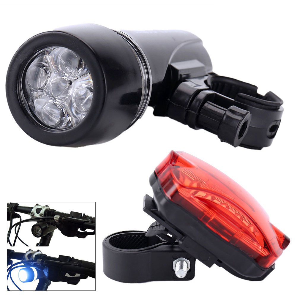 1 set Waterproof 5 LED Lamp Bike Bicycle Front Head Light+Rear Safety Flashlight