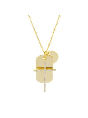 """My Bible Cubic ZIrconia Cross and Dogtag Charm 26"""" Necklace in Yellow Gold Plated Brass"""