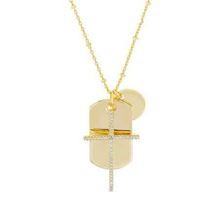 "My Bible Cubic ZIrconia Cross and Dogtag Charm 26"" Necklace in Yellow Gold Plated Brass"