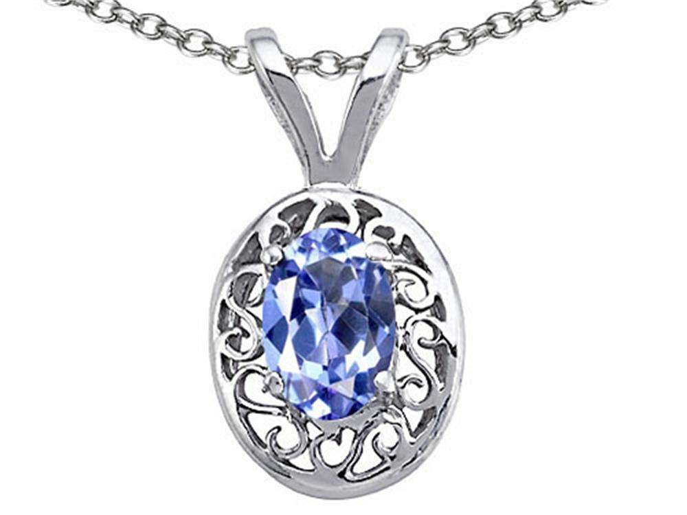Tommaso Design Genuine Tanzanite Oval Pendant Necklace by