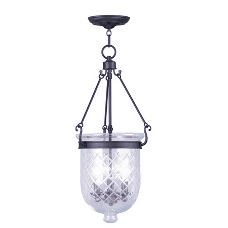 Pendants Porch 3 Light With Clear Diamond Glass Bronze Finish size 12 in 180 Watts - World of Crystal