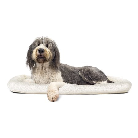 FurHaven Pet Kennel Pad | Faux Lambswool & Sherpa Bolster Pet Bed for Kennels & Crates, Cream, Jumbo ()