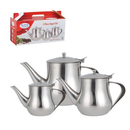 alpine cuisine 3 piece stainless steel tea pot set