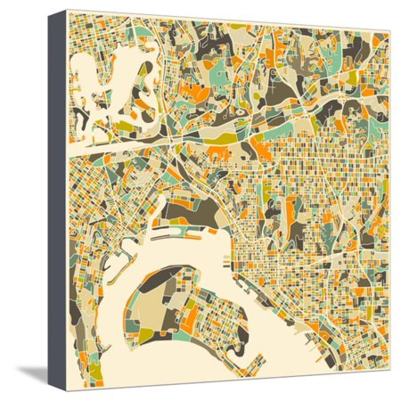 San Diego Map Stretched Canvas Print Wall Art By Jazzberry Blue ...