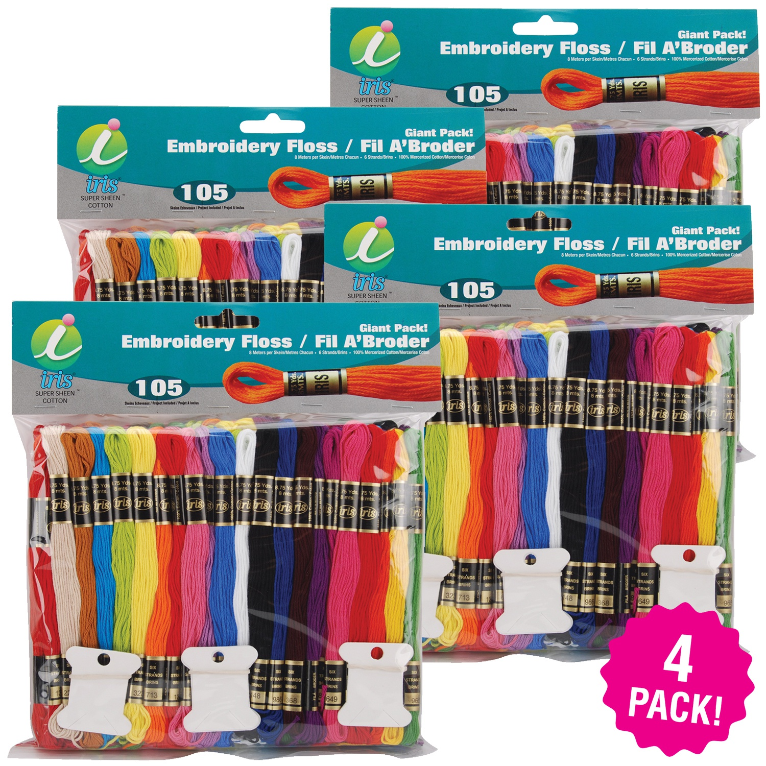 Iris Embroidery Floss Giant Pack 8.7yd 105 Count, Multipack of 4