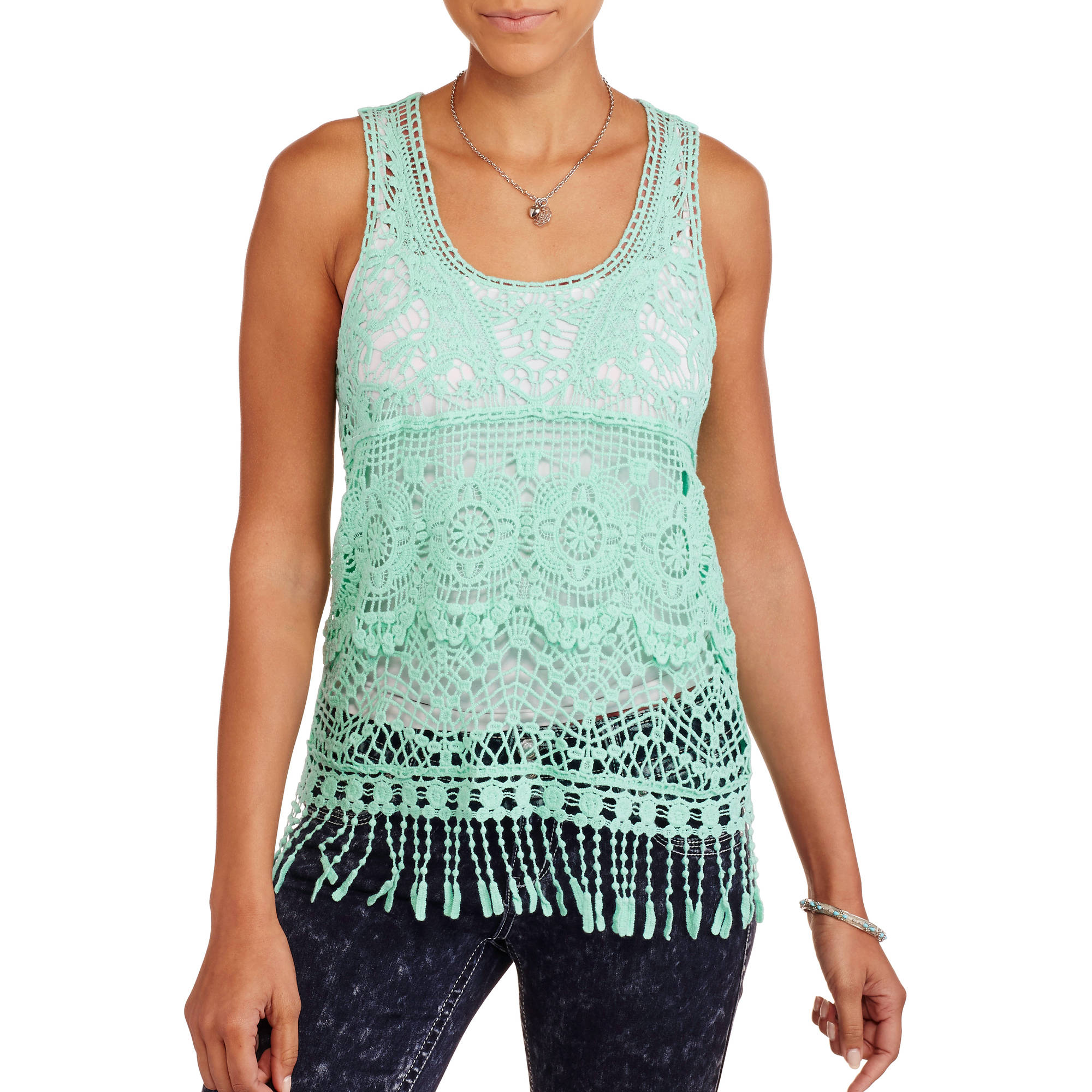 Juniors' Crochet Lace Tank with Fringe Trim