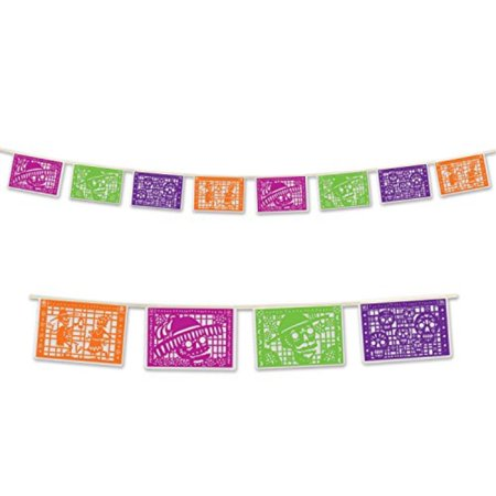 Beistle Day Of The Dead Picado Banner, 8 by 12-Feet, Multicolor](Day Of The Dead Birthday)