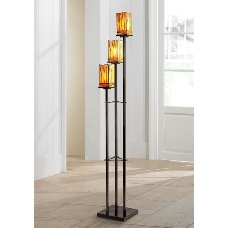 Robert Louis Tiffany Art Deco Floor Lamp 3-Light Bronze Amber Tone Tiffany Style Glass Shade for Living Room Bedroom Office Art Deco Bronze Floor Lamp