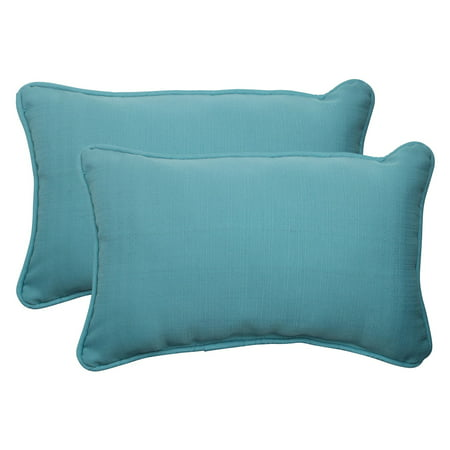 Pillow Perfect Outdoor/ Indoor Forsyth Turquoise Rectangle Throw Pillow (Set of 2)