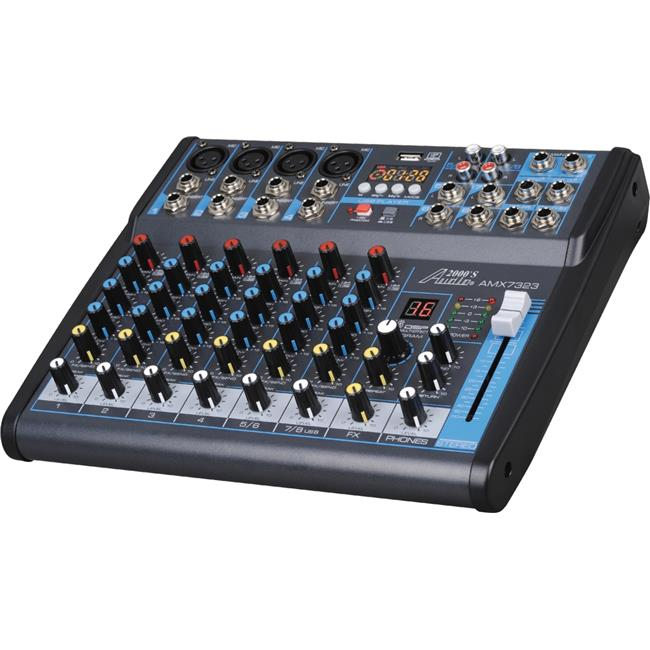 Audio2000'S AMX7323- Professional Eight-Channel Audio Mixer with USB Interface, Bluetooth, and DSP Sound Effects