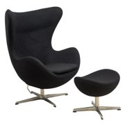 LeisureMod  Modena Black Wool Modern Accent Lounge Chair W/ Ottoman
