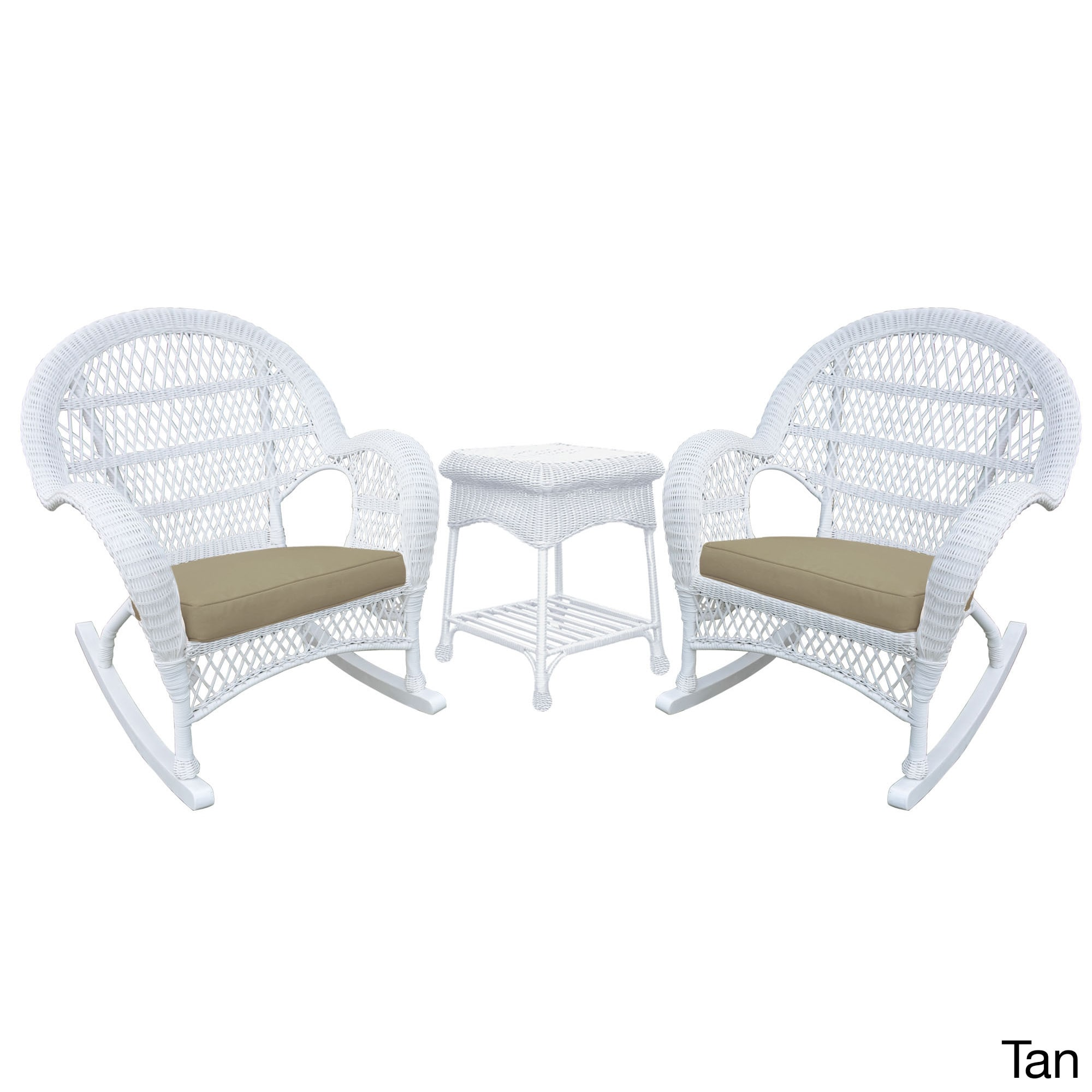 Jeco Santa Maria White Rocker Wicker Chair and End Table Set
